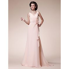 A-line+Plus+Sizes+/+Petite+Mother+of+the+Bride+Dress+-+Pearl+Pink+Sweep/Brush+Train+Sleeveless+Chiffon+–+USD+$+89.99