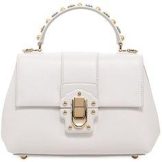 Dolce & Gabbana Women Small Lucia Studded Handle Leather Bag ($2,415) ❤ liked on Polyvore featuring bags, handbags, shoulder bags, borse, white, leather purses, white purse, white leather purse, leather shoulder handbags and studded leather purse