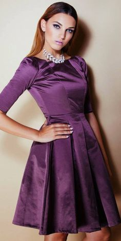 Modest purple midi fit and flare dress with sleeves | Mode-sty | purple wedding | www.endorajewellery.etsy.com