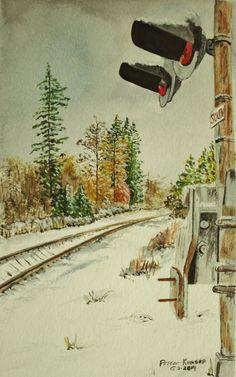 watercolor painting,train tracks and crossing, original watercolor in winter,handpainted art of trains,train tracks,original art