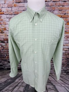 Orvis Long Sleeve Button Down Shirt Plaid Mens Large L Green White Checks #Orvis
