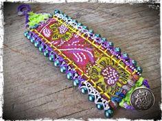Bohemian Leather Cuff  Hippie Gypsy Bracelet  by EarthChildArt, $40.00
