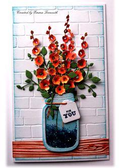 Floral birthday card, shaker card, jar of love, impression obsession hollyhock die, stampin up brick embossing folder