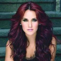 Gorgeous plum-burgundy deep red hair