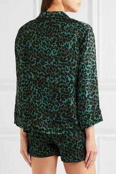 Love Stories - Jude Xl And Audrey H Leopard-print Satin Pajama Set - Emerald