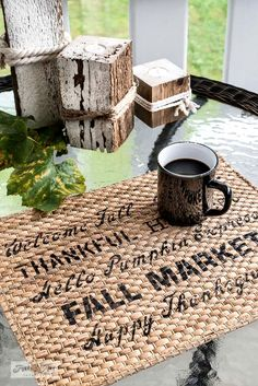 Learn now to create the cutest and easiest pumpkin pillows and fall placemats with Ikea items and Funky Junk's Old Sign Stencils fall stencils! Leaf Stencil, Pumpkin Stencil, Stencil Diy, Fall Placemats, Black Pillow Covers, Pumpkin Pillows, Funky Junk Interiors, Sign Stencils, Cute Pumpkin
