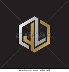 JL initial letters looping linked hexagon elegant logo golden silver black background