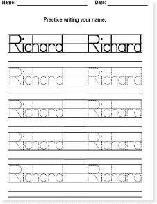 Make your own worksheets: practice writing individual names. C ...
