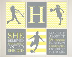 Basketball girl wall art, softball wall art, soccer girl wall art, pre teen girl gift, monogram, set of 6, choose your sports and colors by PicabooArtStudio