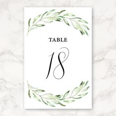 Printable Wedding Table Numbers - 4x6 - Includes Numbers 1–30 - Olive Branch - Greenery by CarraraType on Etsy https://www.etsy.com/listing/289342301/printable-wedding-table-numbers-4x6