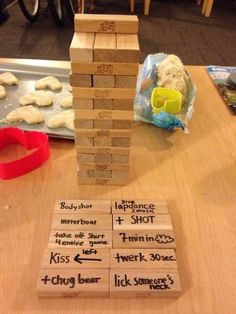 Well Jenga just got moved up on the list of fun games lol. I guess I should buy it and get my sharpie party-ready for our next 'date night in' :-)