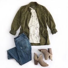jeans, lace top, olive utility jacket and booties