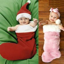 Newborn Baby Girl Boy Christmas Photos Socks Warm Soft Outfits Set Santa Photo Sleep Bag(China (Mainland))