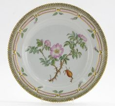 A Royal Copenhagen Flora Danica plate, painted with a specimen of dog rose, titled Rosa suavifolia Lightf to the reverse, printed factory mark, 20th century, 25.5cm.