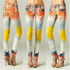 Ok, I love abstract paintings. Looks like I love abstract painted jeans, too! Painted Jeans, Painted Clothes, All Jeans, Embroidered Jeans, Diy Clothing, Denim Fashion, Refashion, Tie Dye, My Style