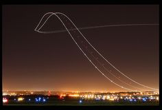 A long exposure of an airplane's ascent. An interesting site to see if you're a jet-setter like us!