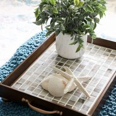 How To Tile A Table Top.easier than you think! Use this simple trick to tile all the things.furniture, decor and more! Copper Spray Paint, Spray Paint Colors, White Spray Paint, Diy Ottoman, Tufted Ottoman, Trash To Treasure, Wood Picture Frames, Diy Table, Simple House