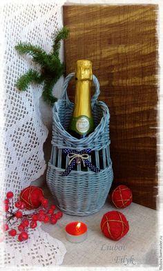 "Купить Короб Новогодний для шампанского ""Романтик"" - синий, серый, романтичный подарок, новогодний подарок"