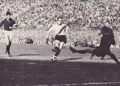 Inter Milan 5 AC Milan 2 in March 1965 at the San Siro. Sandro Mazzola scores his 2nd goal in the Serie A derby clash.