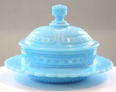Blue Milk Glass Beaded Star Fan Butter Dish