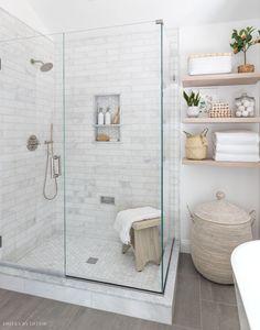 Our frameless glass shower enclosure Bathroom Renos, Bathroom Renovations, Home Remodeling, Bathroom Makeovers, Bathroom Ideas, Kitchen Makeovers, Remodel Bathroom, Basement Bathroom, Bathroom Organization