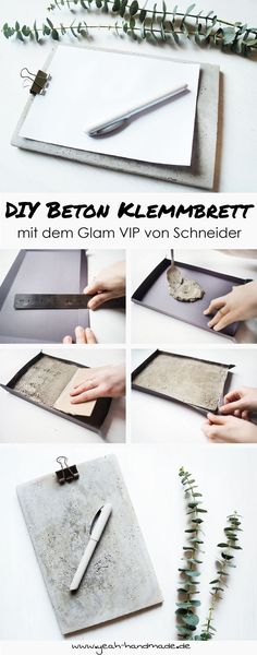 [Anzeige] DIY clipboard made of concrete with the Glam VIP from Schneider - Betonbasteln - DIY & Crafts Concrete Crafts, Concrete Projects, Concrete Design, Diy Projects, Diy Hacks, Handmade Crafts, Diy And Crafts, Diy Deodorant, Papercrete