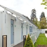 British company Snoozebox came along at the right time: Their portable container hotel (a temporary installation of 320 shipping containers at Hainault Forest Country Park in Essex) is housing the security personnel for the Olympics this summer.