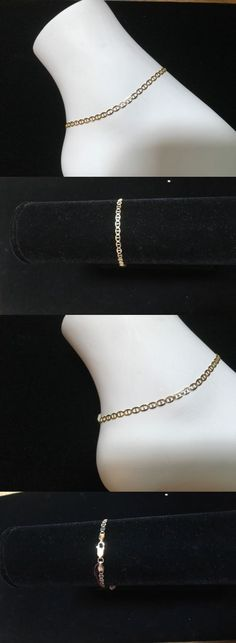 anklet sterling gold p over chain v pav bonding silver figaro
