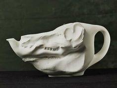 pig skull tea pot.