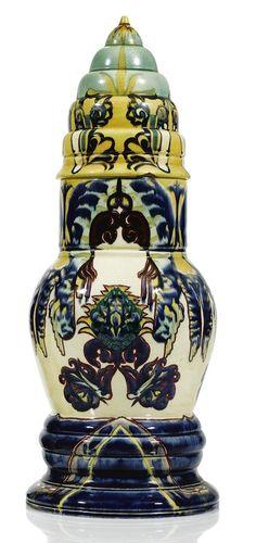Rozenburg earthenware 'Turban' covered vase designed by Theodoor Colenbrander 1889  |  SOLD 11,050 EUR