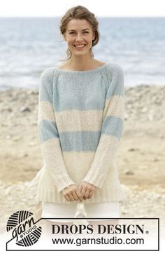 "Weekend Getaway - Knitted DROPS jumper with raglan, vent in the sides and stripes, worked top down in ""Brushed Alpaca Silk"". Size S-XXXL. - Free pattern by DROPS Design Sweater Knitting Patterns, Knit Patterns, Free Knitting, Drops Design, Raglan Pullover, Drops Patterns, Alpacas, Knit Or Crochet, Pulls"