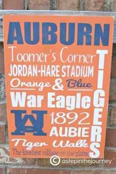 Auburn Tigers Subway Art. $35.00, via Etsy.