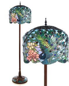 Peacock Tiffany Floor Lamps CONGRATULATIONS CAROL! These beautiful floor lamps are the perfect pin to be the BOARD COVER for the MONTH of MARCH. They are so elegant! Thanks for finding such great things to put on this board! #peacockserendipity @Carol Van De Maele Garvin