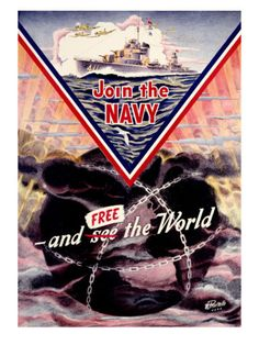 Buy online, view images and see past prices for Rare Original Vintage World War II Navy Poster. Invaluable is the world's largest marketplace for art, antiques, and collectibles. Military Art, Military History, Ww2 History, Naval History, Military Service, Military Life, Us Navy Recruiting, Ww2 Propaganda Posters, Political Posters