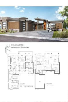 The Esquire Main Floor Area: 1713 sqft Lower Floor Area: 1715 sqft Width: including cantilevers) Depth: including cantilevers) Garage: 3 Storeys: 1 Storey with Walk-Out Basement ______________________________________ Contemporary House Plans, Contemporary Design, Waterfront Homes, New Home Designs, Luxury Living, Exterior Design, Custom Homes, Sweet Home, New Homes