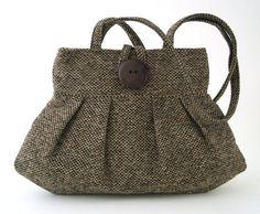 brown bag small tote bag retro purse shoulder bag by daphnenen