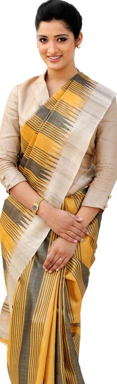 Handloom Tussar Silk Saree - original pin by @webjournal