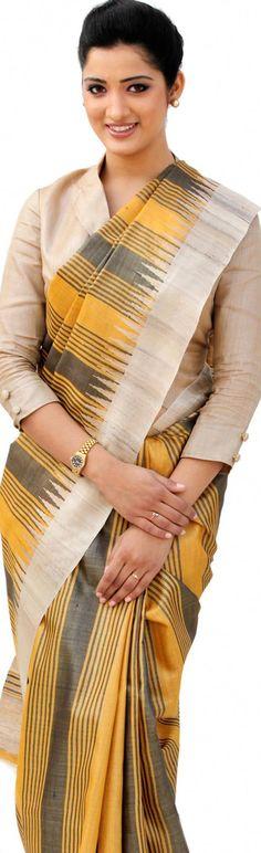 Handloom Tussar Silk Saree - original pin by @webjournal