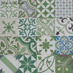 Cement Tile Shop - Encaustic Cement Tile Patchwork Green baldosas hidraulicas http://www.cementtileshop.com/pacific-collection-cement-tile/PatchworkPW-G.html                                                                                                                                                      Más