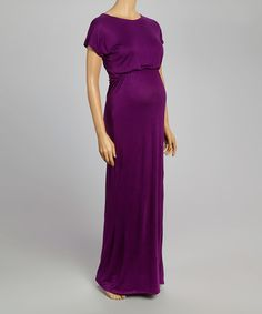 Another great find on #zulily! Purple Cap-Sleeve Maternity Maxi Dress #zulilyfinds