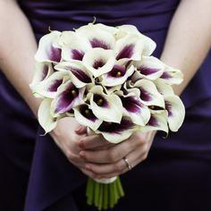 purple and white calla lily bouquet