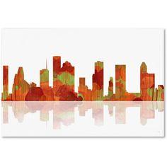 Trademark Fine Art Houston Texas Skyline Canvas Art by Marlene Watson, Size: 22 x 32, Multicolor
