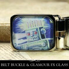 Easy to Make Belt Buckle with Glamour FX Glass Insert Kit. (Glamour Seal and Paper not included) From Annie Howes.