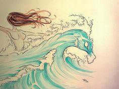 Wave Horse Ilustración Caballo Espuma Alberti