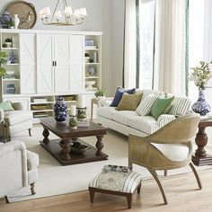 Living Room Flooring, Living Room Sofa, Living Room Decor, Living Rooms, Family Room Sectional, White Painted Furniture, Chairs For Small Spaces, Ballard Designs, Upholstered Furniture