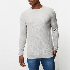 Pull gris texturé à col ras du cou - Pulls - pulls/cardigans - Homme