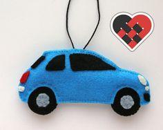 Blue Fiat 500 Felt Car Christmas Ornament  by HeartfeltRacing
