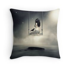 Sureal/conceptual Scenery Of Young Girl On Swing | Throw Pillow
