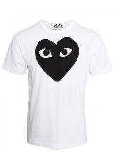 Comme Des Garcons | PLAY Mens Red Heart Hem T Shirt White | Buy Comme Des Garcons Play Clothing Online at Hervia.com #hervia #commedesgarcons #play