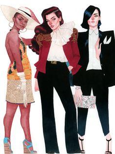 Vixen, Wonder Woman, and Zatanna - DC Fashion by Kevin Wada